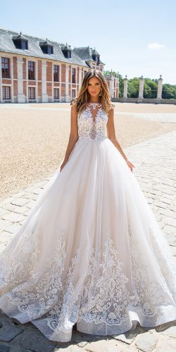 blush cap sleeves lace wedding dresses milla nova 2018
