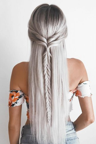 boho wedding hairstyles bohemian half up half down with single braid emilyrose