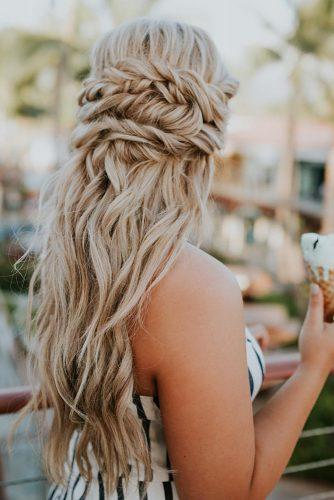 boho wedding hairstyles braided crown half up for long hair yourbraids