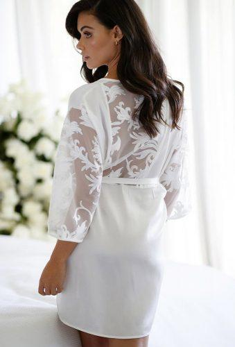 bridal robes white silk robe with lace lerose online
