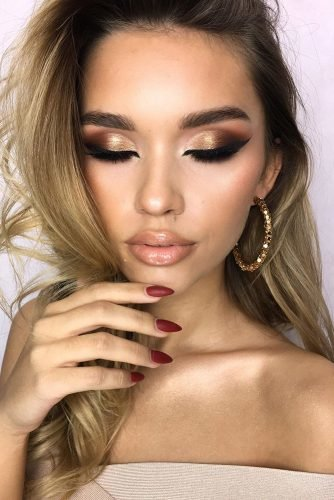 bridesmaid makeup trendy golden beige brial tones makeup_by_dominika_szymik