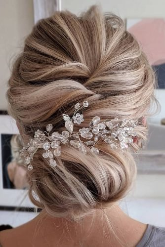 bridesmaid updos low elegant bun with crystal accessorie sarahwhair