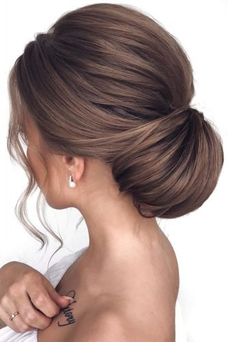 bridesmaid updos low elegant textured chignon mpobedinskaya