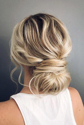 bridesmaid updos messy low bun on blonde hair withlovehunter via instagram