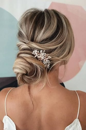 bridesmaid updos simple elegant low bun with pins sarahwhair
