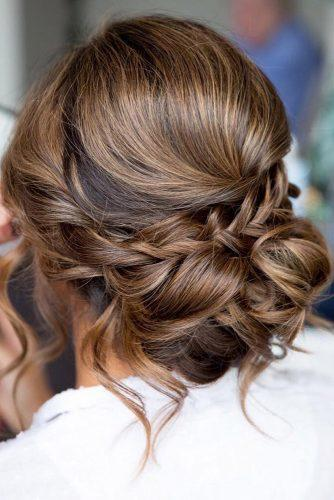 bridesmaid updos simple elegant updo with loose curls on brown hair deelushhair