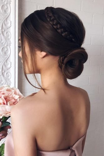 bridesmaid updos simple smooth low bun braided crown on brown hair shiyan_marina