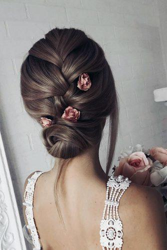 bridesmaid updos smooth french braid with pink roses shiyan_marina