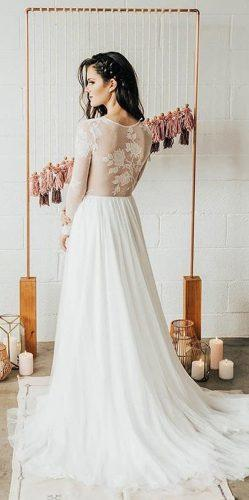 casual wedding dresses a line lace illusion backless long sleeve wear your love xo