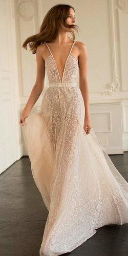 casual wedding dresses flowy bling deep v neck spaghetti straps sleeveless eisen stein bridal