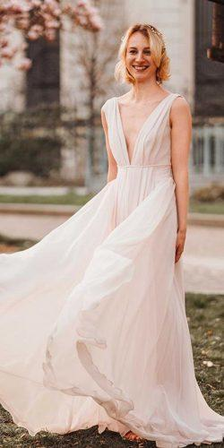 casual wedding dresses flowy blush deep v neck sleeveless atelier eme