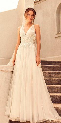 casual wedding dresses sleeveless v neck heavily embellished bodice romantic soft a line paloma blanca