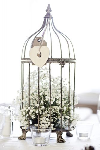 cheap wedding decorations baby breath white flowers in vintage cage centerpiece blush floral art