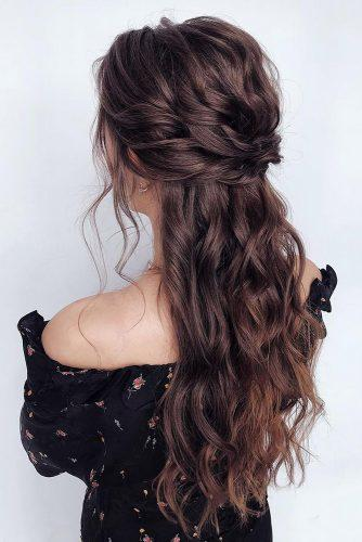 curly wedding hairstyles long brown hair half up half down with curls kseniya_fed