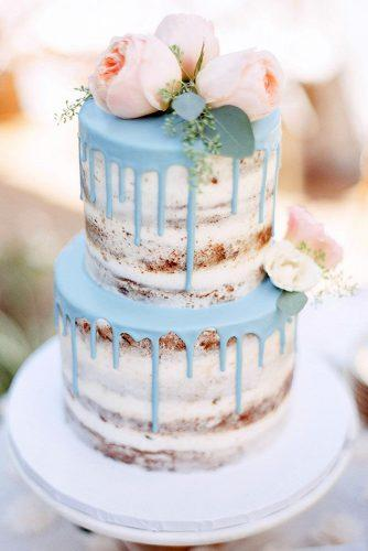 drip wedding cakes small naked with blue drip cream and pink roses on top lucy munoz photography