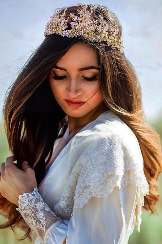 fall wedding hairstyles hair down with gold accessory connie delamora