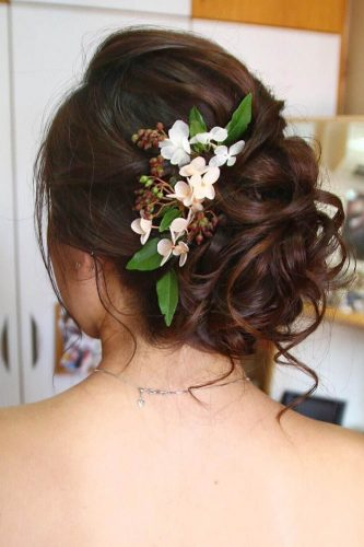 fall wedding hairstyles updo with flowers christinechiamakeup