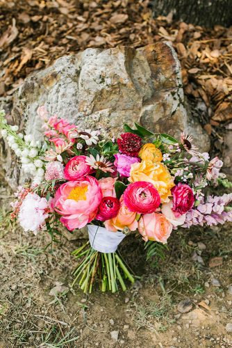 gorgeous summer wedding bouquets bright yellow pink coral with peonies roses wildflowers belightphotography