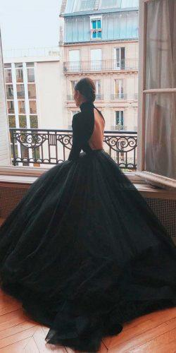 gothic wedding dresses ball gown simple modern low back high neckline long sleeves mark bumgarner