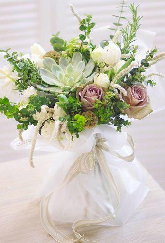 green wedding florals bouquet with pink flowers leranel