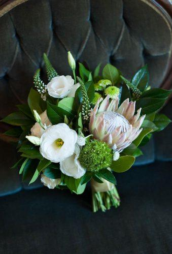 green wedding florals tender bouquet with protea fariamunmun