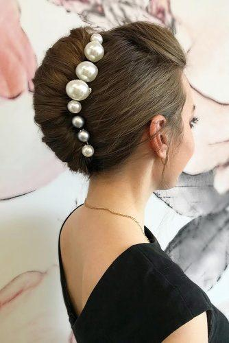 hair accessories inspiration elegant french roll on dark hair with pearly hairpin lee4you
