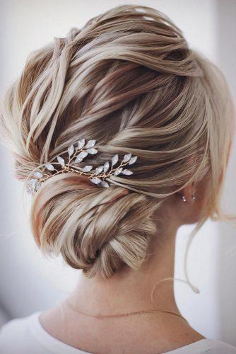 hair accessories inspiration elegant textured low updo with golden sparkle golden branches lenabogucharskaya