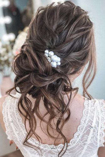 hair accessories inspiration elegant updo on long dark hair with loose curls and pearls pin tatistylespb