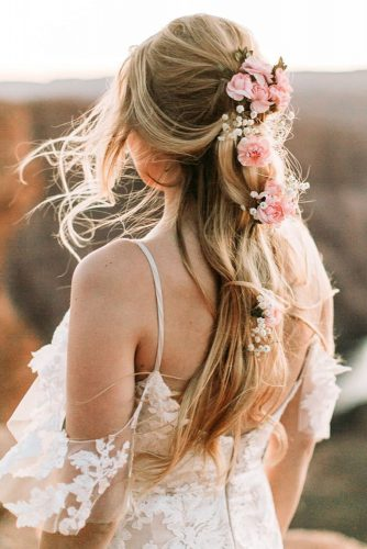 hair accessories inspiration wedding hairstyle half up half down on blonde hair with pink roses carmelajoyphotography