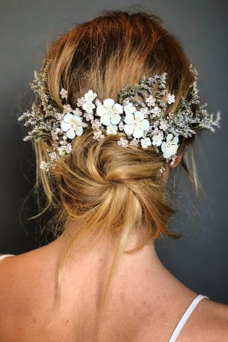 hair accessories inspiration wedding hairstyle low bun with white flower accessorie allenthomaswood