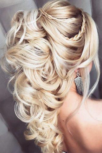 half up half down wedding hairstyles ideas elegant with braids on long blonde hair elstile via instagram