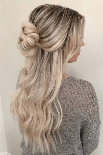 half up half down wedding hairstyles ideas for long blonde hair with bun heidimariegarrett