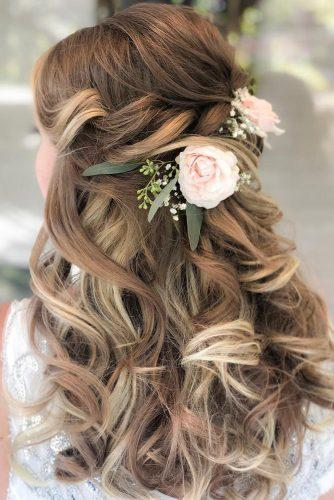 half up half down wedding hairstyles ideas for medium curly hair with fresh pink roses styles_by_reneemarie