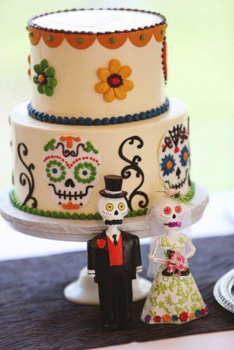 mexican wedding cake ideas with bright patterns and skulls diana m lott photography