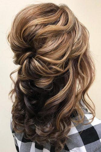 mother of the bride hairstyles curly volume half up half down happilyeverafterhair via instagram