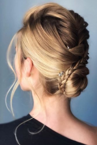 mother of the bride hairstyles elegant low bun with thin braid martinajagr