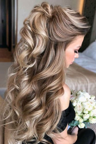mother of the bride hairstyles half up and long tresses on blonde hair veronika_belyanko