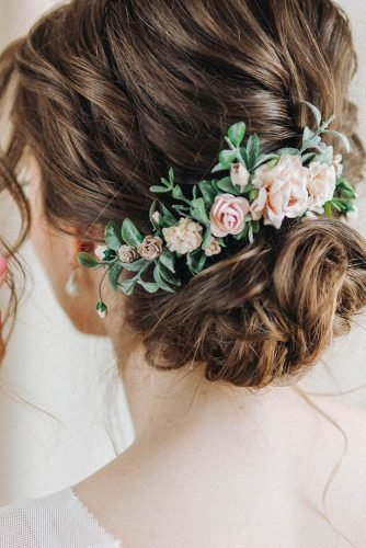 mother of the bride hairstyles low updo with pink roses flower pin leteria