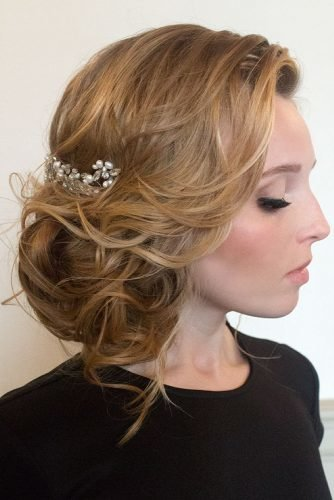 mother of the bride hairstyles side low bun with loose curls hairandmakeupbysteph