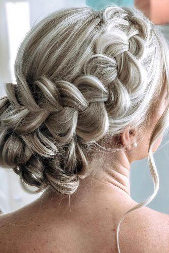 mother of the bride hairstyles volume textured bun with side braid on blonde hair hairbysueee
