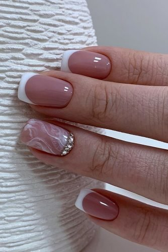 nail ideas french with marble pattern and silver rhinestones aelita_manik_ufa