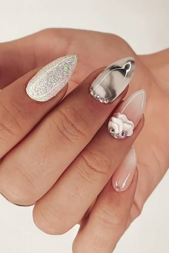 nail ideas marble with rhinestones and petals eroma_nails