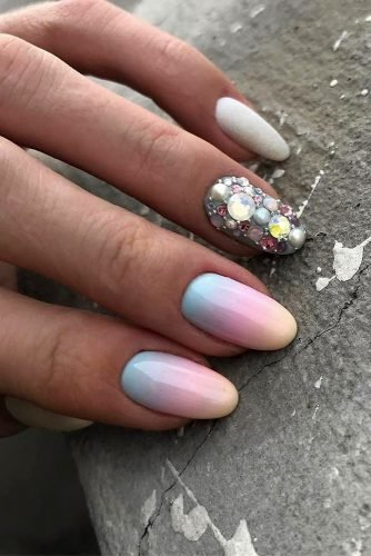 nail ideas nude pastel colorful with rhinestones ombre nail_art_club