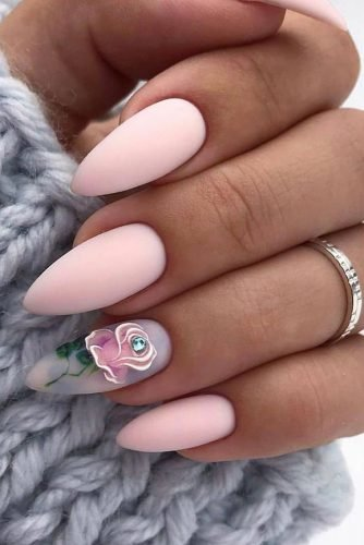 nail ideas nude pastel mate pink with hand painted rose nail_art_store