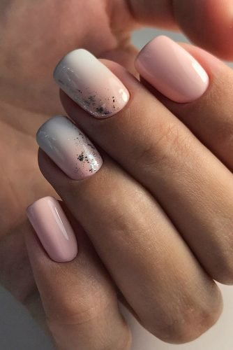 nail ideas pink blue ombre and foil silver effect zvonnikova.nails