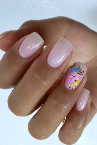 nail ideas pink nails with colorful flowers kangannynails