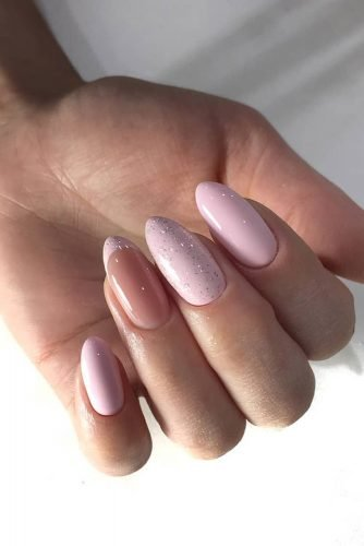 nail ideas shiny pink with french style design zakazama_nails