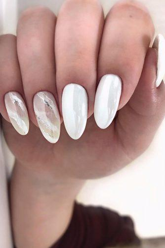 nail ideas wedding bridal white with marble design nailartist_natali