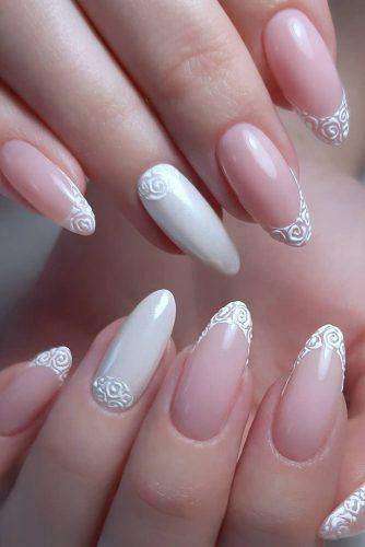 nail ideas wedding french and lace white pink bridal nails evelena_nails