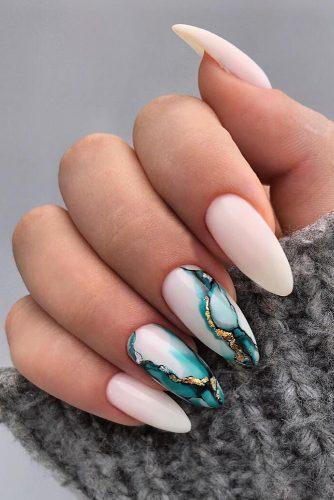 nail ideas wedding white nails with marble blue paint and gold nailartist_natal